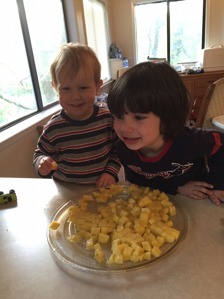 Kids Eating Pineapple